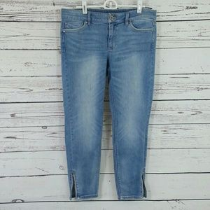Whbm stretch skinny crop size 8 zipper ankles